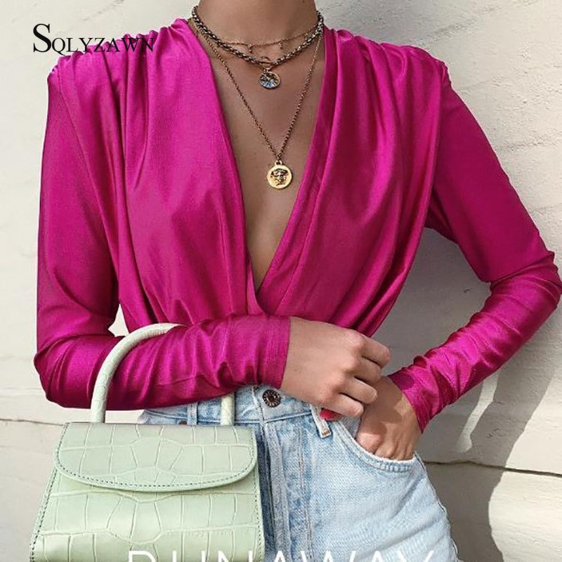 Sexy Deep V Neck Long Sleeve Bodysuit Women Elegant Pleated Black Pink Overall Streetwear Fall Autumn Female One Piece Rompers