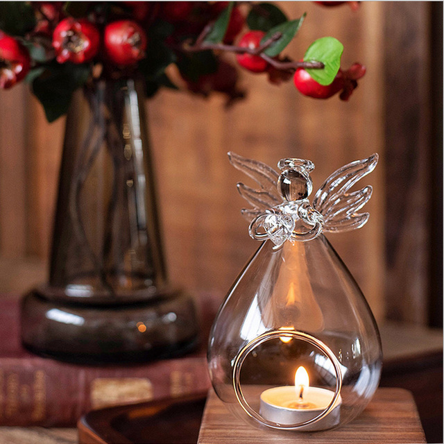 Cute Angel Glass Crystal Hanging Tea Light Candle Holder Home Decor Candlestick Home Room Family Decor Dropshipping 3