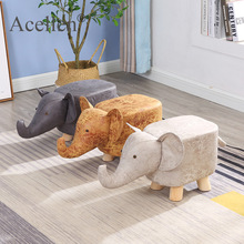 Stool Bench Ottoman Pouf Gaming Door-Side Home-Decor Elephant Animal Living-Room Solid-Wood