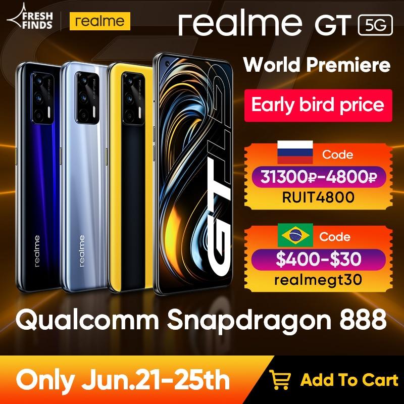 Мировая премьера realme GT 5G телефон Глобальная версия Snapdragon 888 65 Вт Супер Дротика заряда 120 Гц 6,43