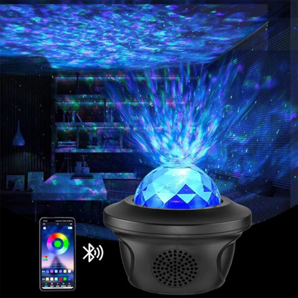 LED Galaxy Projector Ocean Wave LED Night Light Music Player Remote Star Rotating Night Light Gift For kids Bedroom Lamp