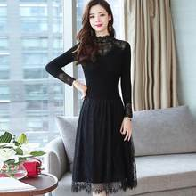 Autumn Long Sleeve 2020 Robe Vintage Dresses Velvet Women Clothing A-line Black Elegant Dress Chinese DC555(China)