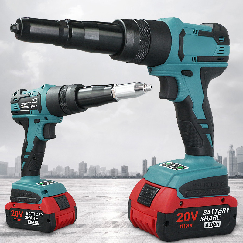 20V Electric Rivet Gun 2.0Ah Portable Cordless Rechargeable Electric Blind Riveter Gun Support 3.2-4.0mm Rivet With LED Light
