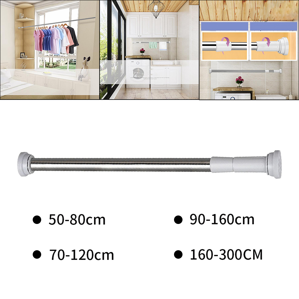 Extendable Telescopic Rods Shower Curtain Poles Clothes Wardrobe Rod
