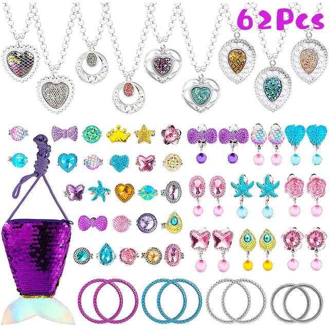 62Pcs Princess Pretend Jewelry Set Decor Princess-Toys Bags Necklace Bracelet Ring Earring Dress Up for Girls Party Supplies 5