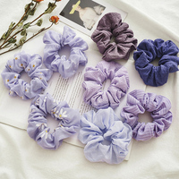 Floral Printed Scrunchies Hair Accessories For Women Purple Elastic Hair Bands Sweet Chiffon Hair Ties Headwear Wholesale