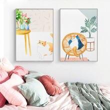 Свежий и милый маленький оранжевый Кот без рамки стильная Картина