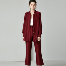 Caramel 2 Piece Outfits for Women Sets Clothes Stripe Silk Two Set Top and Pants Casual Sweatsuits Red conjunto