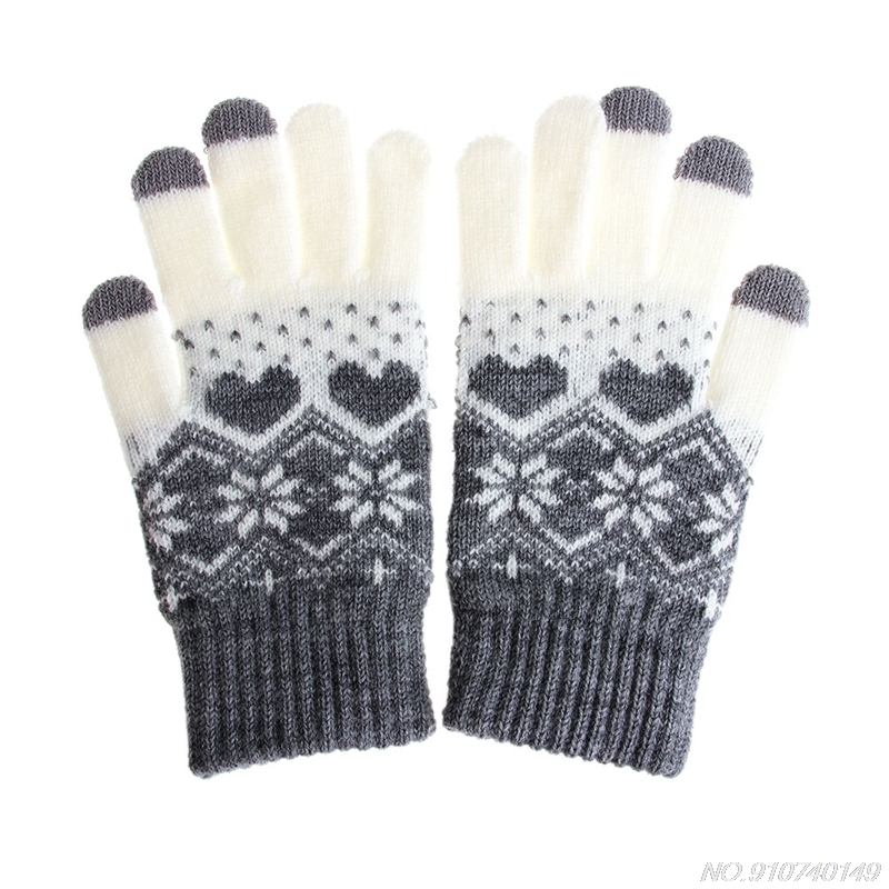 Gloves Touch-Screen D09 20 Mittens Snowflake Stretch Wool Warm Girl Winter Women