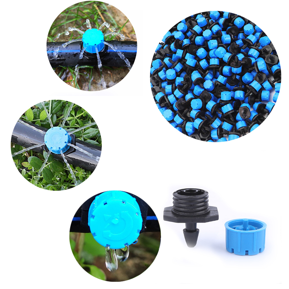 100PCS-500PCS Blue Adjustable Irrigation System Micro Flow Dripper Drip Head 1/4'' Hose Garden Sprinklers Garden Watering Tool