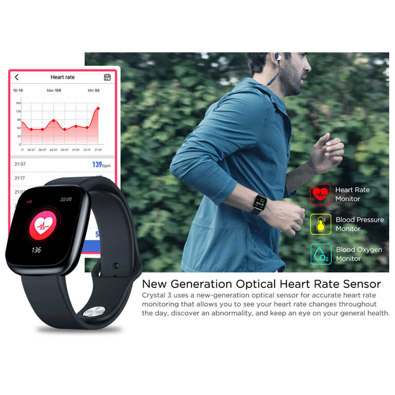 Zeblaze Crystal 3 Smartwatch WR IP67 fréquence cardiaque tension artérielle longue durée de vie de la batterie IPS couleur affichage montre intelligente