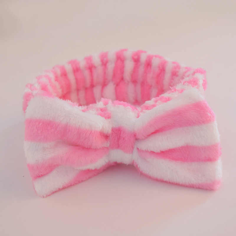 striped bow hairband Headband Big Head Bands Towel Towels Hair girls headband Bath Make Up