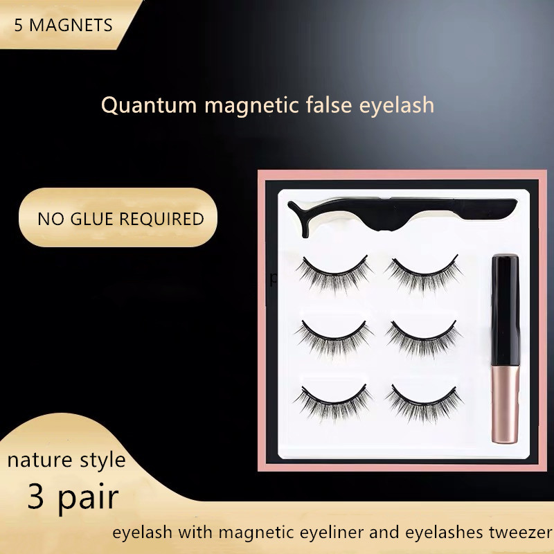 3 Magnet Mix <font><b>Eyelashes</b></font> <font><b>Set</b></font> <font><b>Magnetic</b></font> Liquid <font><b>Eyeliner</b></font> & <font><b>Magnetic</b></font> False <font><b>Eyelashes</b></font> & Tweezer Natural Waterproof Long Lasting <font><b>Eyelash</b></font> image