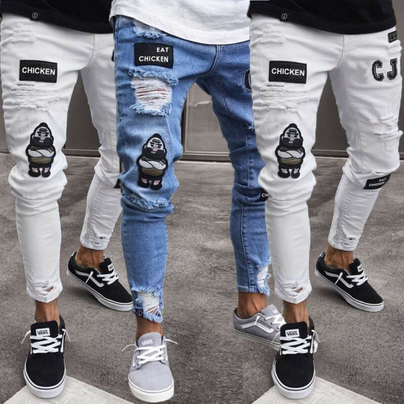 Brand New Fashion Fashion Men's Ripped Skinny Jeans Destroyed Frayed Slim Fit Denim Pant Zipper Hot Sale