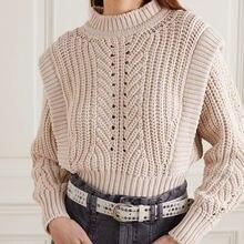 Женский Хлопковый вязаный свитер в рубчик с круглым вырезом