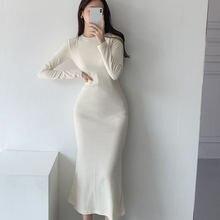 Осень 2020 корейское цельное женское платье Простые однотонные