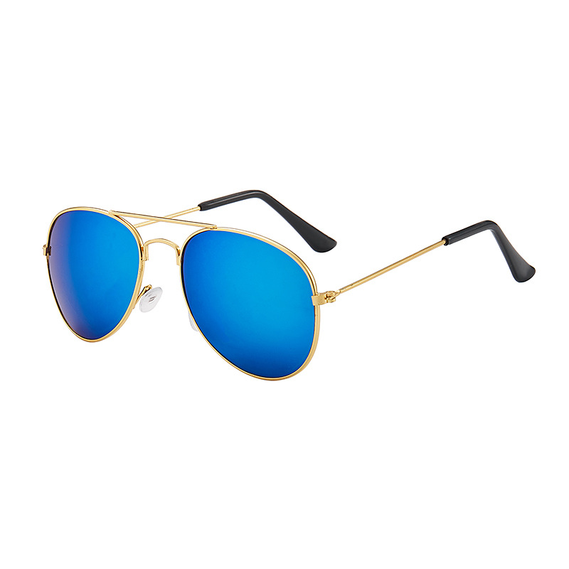 Fashion metal frame childrens sunglasses colorful reflective blue children KARL luxury brand UV400