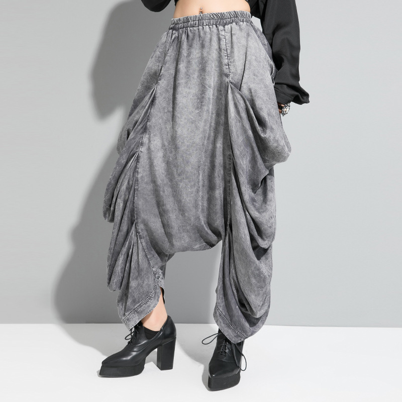 XUXI 2020 Fashion Pants New South Korea Streetwear Tour Female Tide Wash Irregular Grocery Store Pants Fold Clothes FZ0915