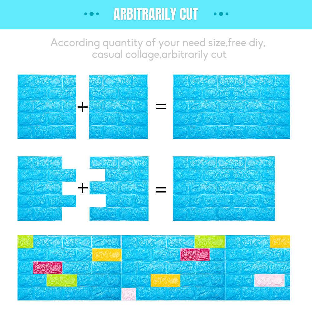 3D 벽 스티커 모방 벽돌 침실 장식 방수 자체 접착 벽지 거실 부엌 TV 배경 장식