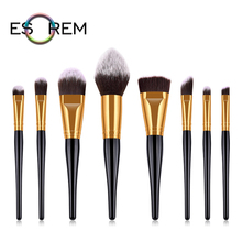 ESOREM professional makeup brushes 8pcs cosmetic brush set flat definer pencil shader flap top brochas maquillaje T-08-002
