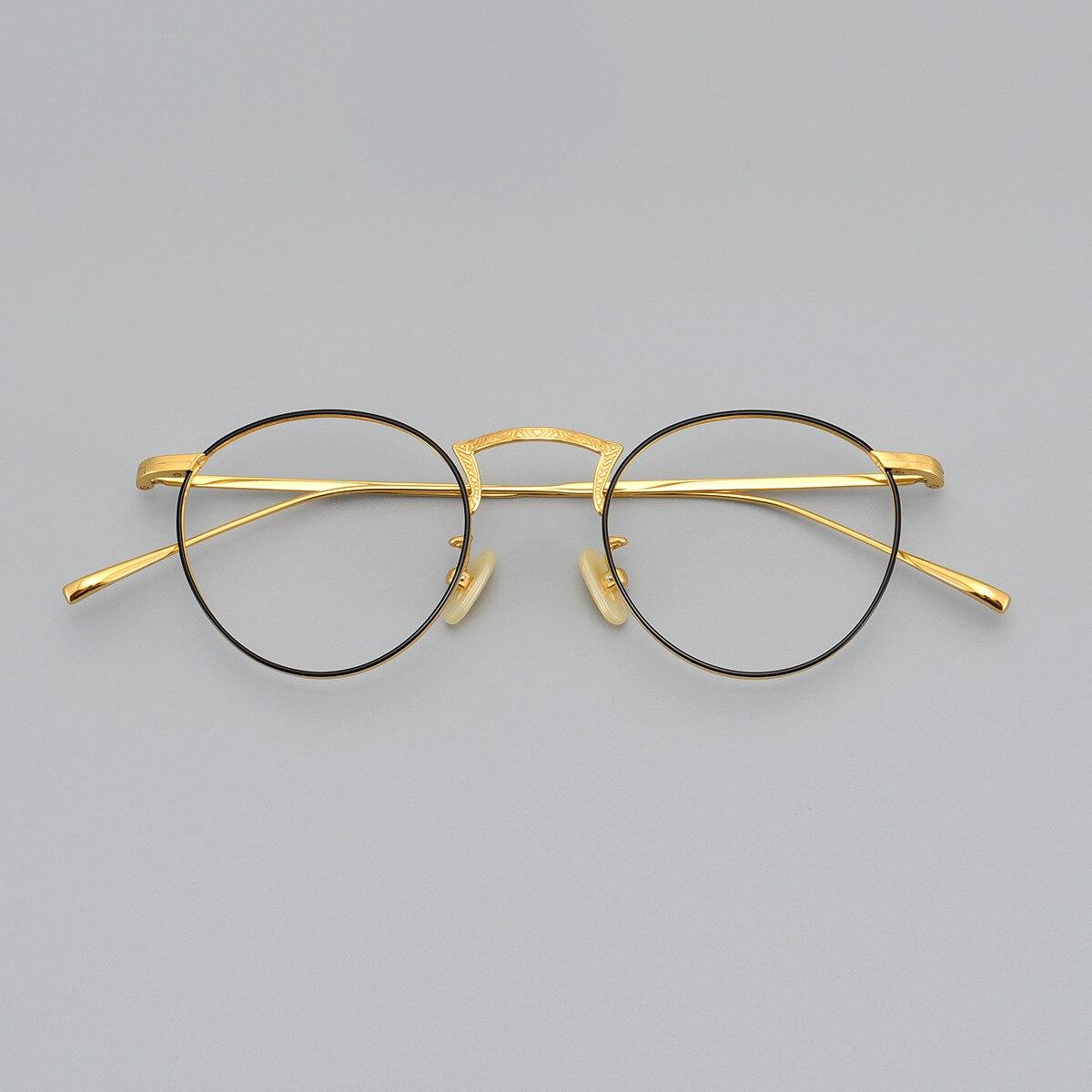 6g Titanium Eyeglasses Frame Men Women Gold Glasses Man Optic Prescription Spectacles Vintage Nerd Fashion Eyewear