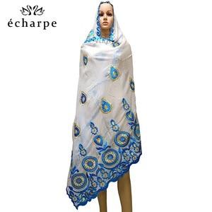 Image 4 - % 100% pamuk eşarp afrika kadınlar özel müslüman kadınlar nakış başörtüsü eşarp büyük daire tasarım başörtüsü EC122