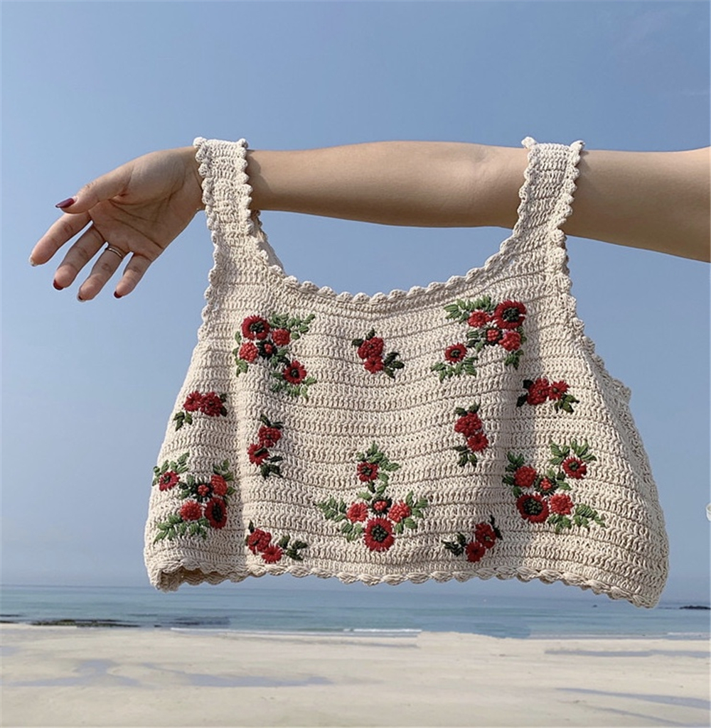 2020 New Fashion Knit Sweet Flower Summer Camis Vintage O-neck  Casual Loose Vest Sleeveless Tank Sexy Short Crop Top