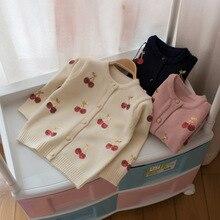 Mmtkids/Детский свитер на осень и зиму, кардиган с вишневыми блестками для девочек, свитер для маленьких детей, G788