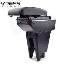 Vtear For Peugeot 107 armrest car-styling arm rest center console USB storage box accessories leather decoration interior auto