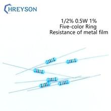 100Pcs 1/2W Metal Film Set Of Resistor 0R-22M 1% Tolerance 180K 300K 620K 1M 1.5M 4.7M 9.1M 10M 10 Ohm Electronics Resistance