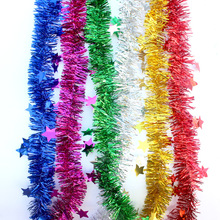 Garland Tinsel Christmas-Tree-Ornaments Party-Decoration Rattan Foil-Star 2M Gold Silver-Wire