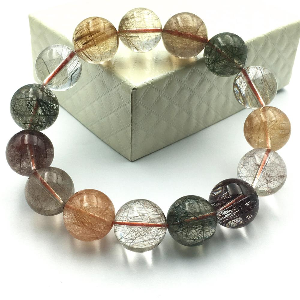 Natural Colorful Copper Red Gold Green Hair Rutilated Quartz Bracelet Women Men 14.5mm Crystal Round Beads Jewelry AAAAA