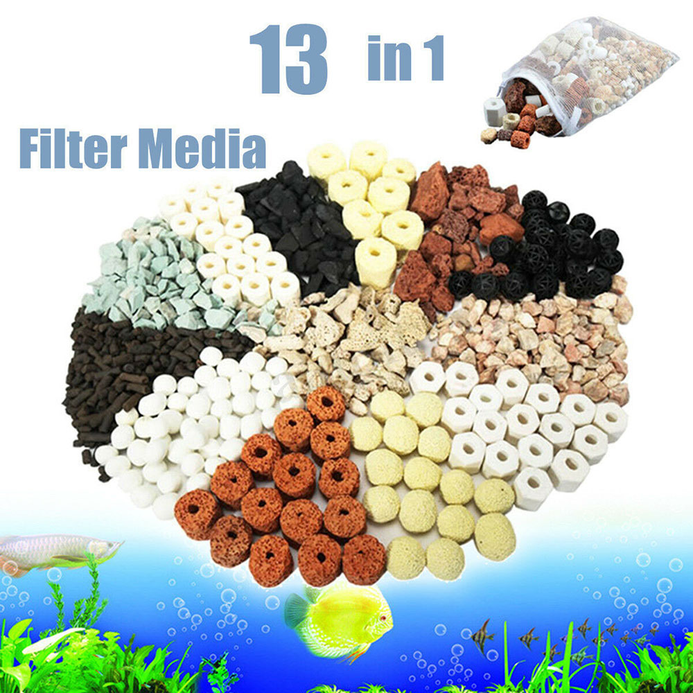 500g/Bag 13 In 1 Bag Aquarium Fish Tank Pond Ring Bio Ball Biological Filter Water Purification Activated Stone Filter Material