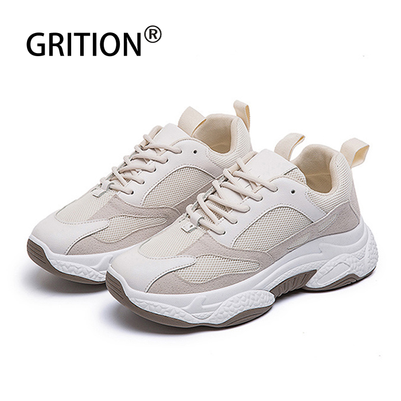 GRITION Women Running Sports Shoes Breathable Sneakers Casual PU Lace Up Thick Heel Increase Height Platform Ladies Shoes 2020