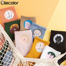 Women Cotton Socks Cartoon Printing Autumn Female New Fashion Korean Style Solid Color Girls Students