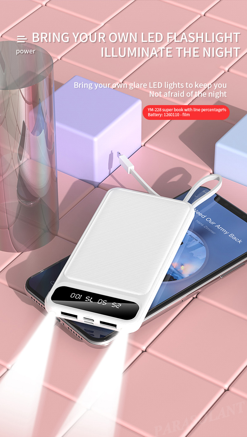 Portable 10000mAh Charging Power Bank For Xiaomi iPhone Samsung Mobile Phone 16