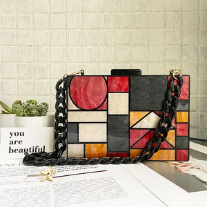 Image 2 - 2020 New brand acrylic patchwork Evening bags Handbags  Vintage Women messenger bags Geometric Pattern Clutches Party Prom purse