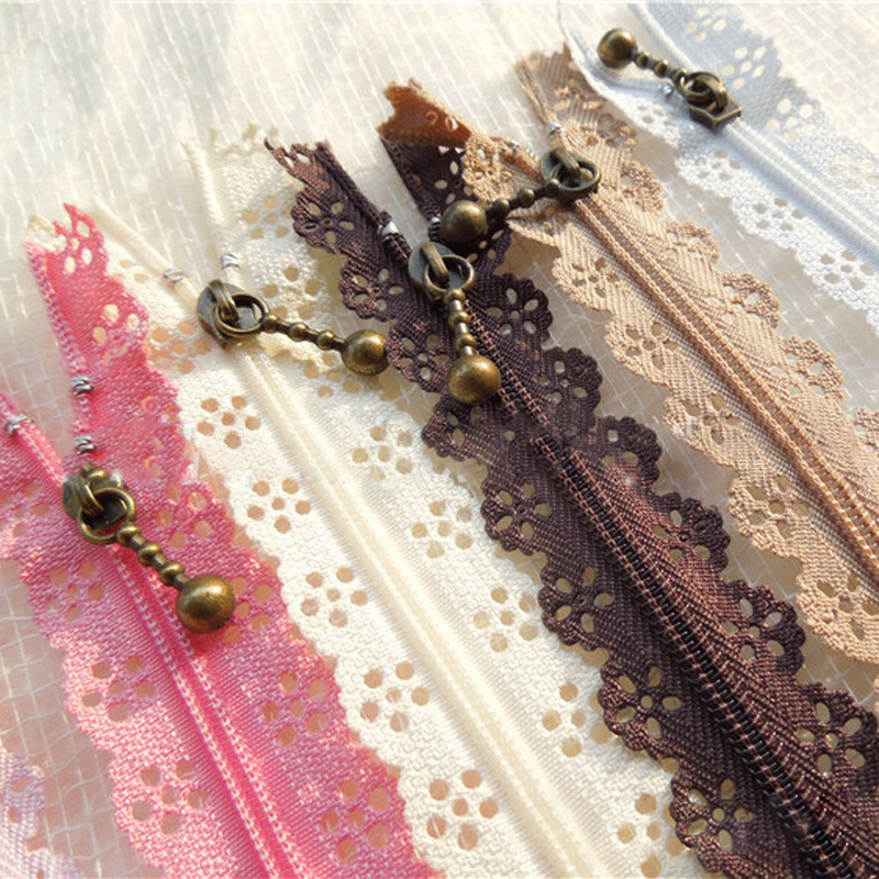 10Pcs 20cm Nylon Vintage Coil Lace Zippers For DIY Bag Long Invisible Zipper Tailor Tools Sewing Clothes Accessories
