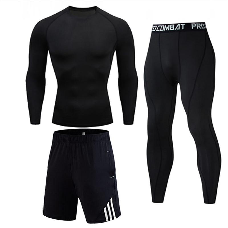 Men Sports Wear Gym Running Truck Suit Compression Tights Winter Thermal Underwear Fitness Jogging Suit Black Rashgard Male