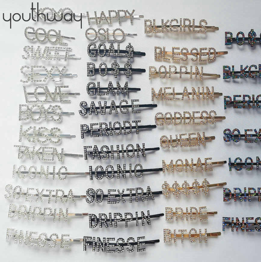 Personalized hair pins and clips gold black silver gold word hair pins alphabet Bling crystal rhinestone paved letter Bobby pins