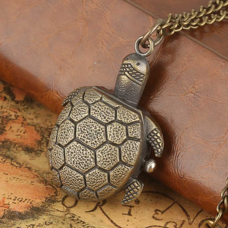 Retro Bronze Tortoise Design Quartz Fob Pocket Watch 80CM Pendant Necklace Chain Unique Toys Gifts For Boys Girls Children