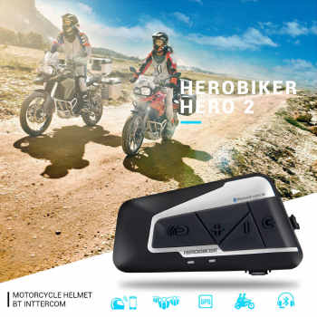 HEROBIKER 1200M Motorcycle Intercom Helmet Headset Helmet Bluetooth Intercom Wireless Waterproof Moto Headset Interphone 2 Rides