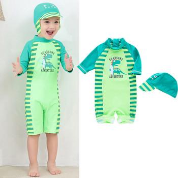 2020 Summer Kid Boy dinozaur jednoczęściowy strój kąpielowy stroje kąpielowe UV ochrona przed słońcem kostium kąpielowy strój tanie i dobre opinie ISHOWTIENDA moda Z okrągłym kołnierzykiem Dinosaur COTTON POLIESTER Chłopcy SHORT REGULAR Dobrze pasuje do rozmiaru wybierz swój normalny rozmiar