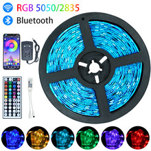 Tira de luz Led Luces Led RGB SMD 5050 2835 Bluetooth WiFi impermeable de Color lazo cinta Flexible de 5M 10M 15M 20M(China)