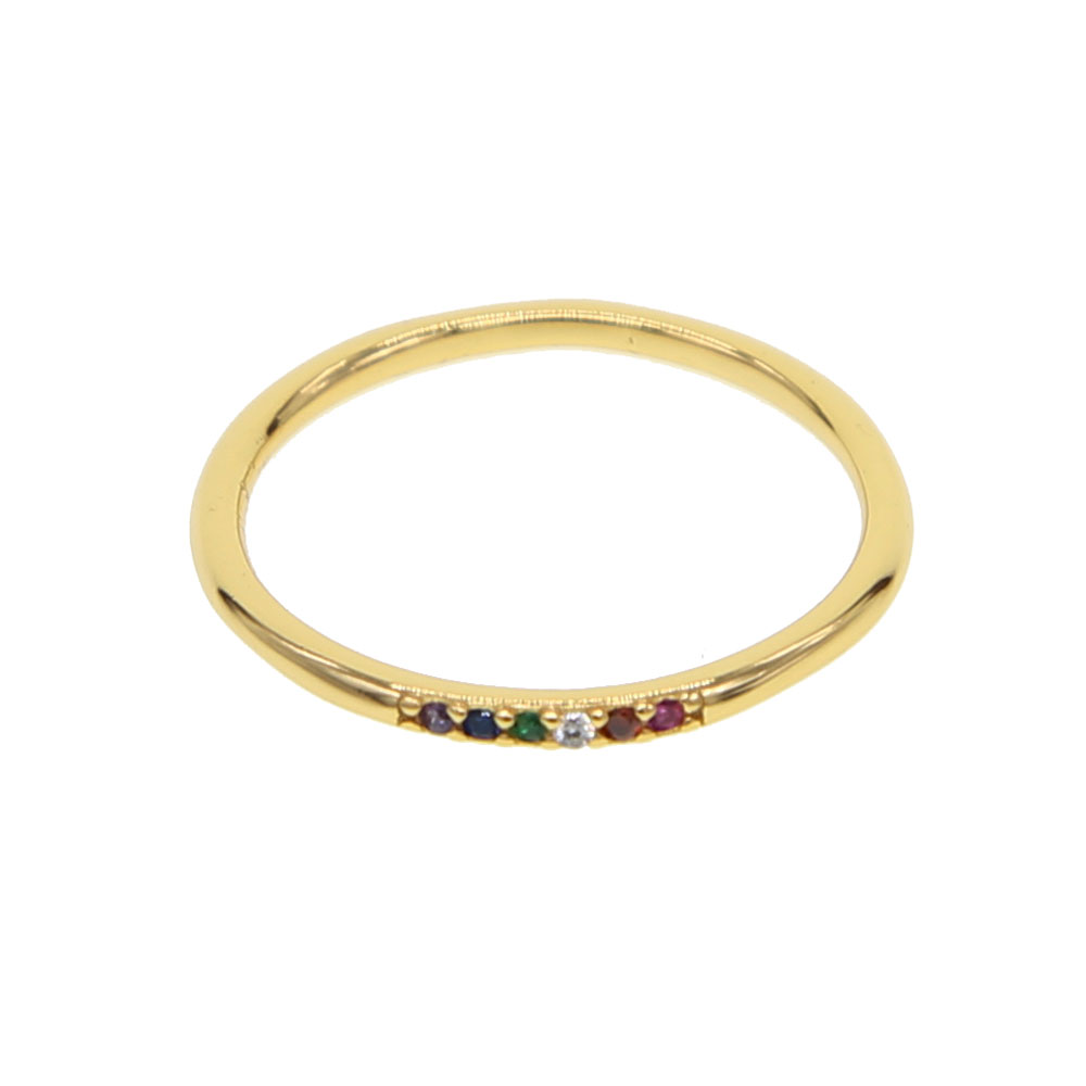 Small Fashion Simple 925 sterling silver Ring For Women Girl Thin rainbow cz Rings Vintage minimal Size 6-7 Free Shipping