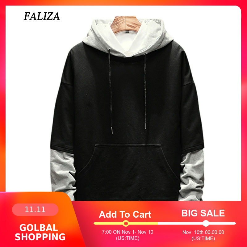 FALIZA 2019 New Spring Autumn Mens Hoodies Pullover Fake Two Pieces Hoodie Sweatshirt Male Hip Hop Hoodie Casual Sportswear WYA