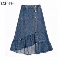 LXMSTH Large Size Denim Skirt Women Button up Ruffles Casual High Waist Ladies Plus Size Elegant Irregular Jeans Skirt 8XL 7XL