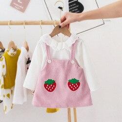 Bonito adorável meninas vestido de princesa primavera manga longa crianças bebê infantil roupas morango geral a line escola tutu vestidos