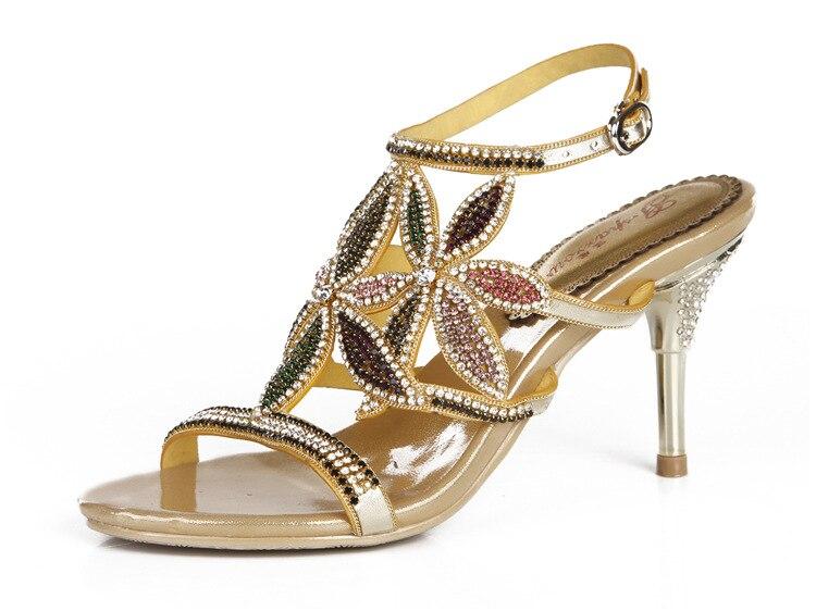 G-sparrow New Large Size Diamond Gold Crystal Wedding High Heeled Sandals Rhinestone Thick Heel Elegant Shoes13