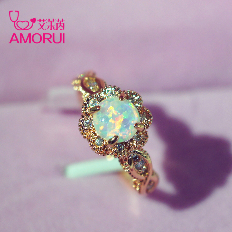 AMORUI Vintage Australian Crystal Flower Ring Female Anniversary Gift Jewelry Fashion Golden Opal Engagement / Wedding Rings image